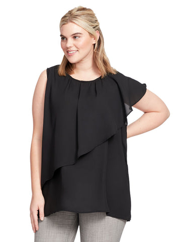 Sleeveless Ruffle Front Blouse