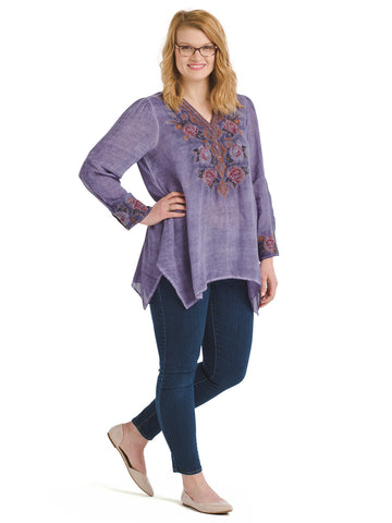 Floral Embroidered-Cuff Purple Top