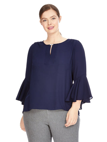 Bell Sleeve Navy Top