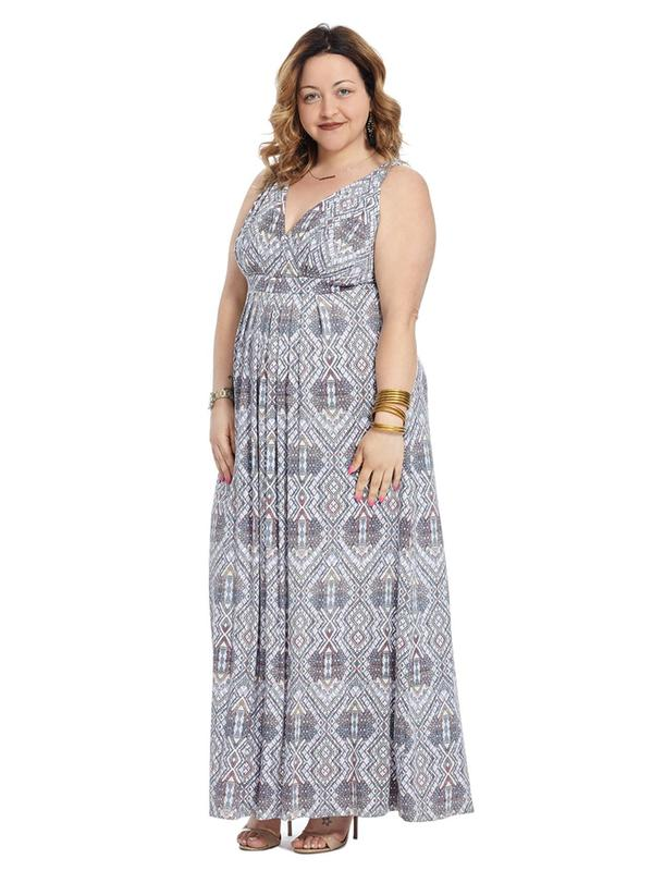 Geometric Lattice Maxi Dress