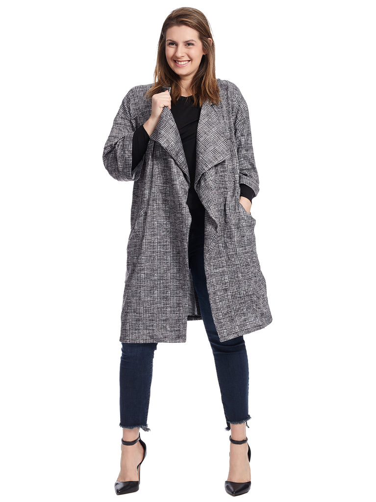 Long Sleeve Checked Duster