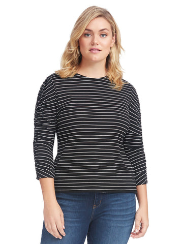Ruched Thin Rib Striped Top