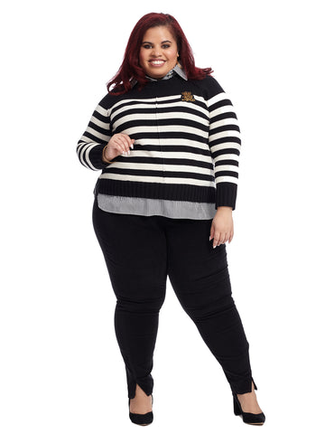 Black And White Striped Twofer Sweater