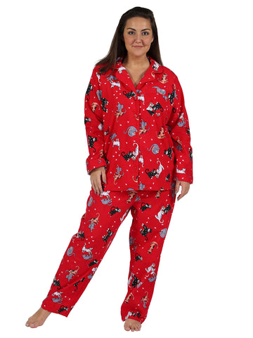 Red Cat Flannel PJ Set