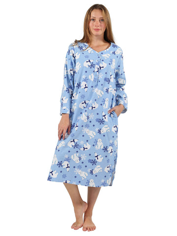 Polar Bear Print Flannel Nightshirt