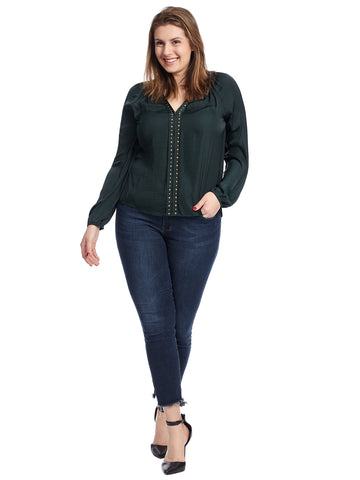 Rumple Stud Trim Blouse