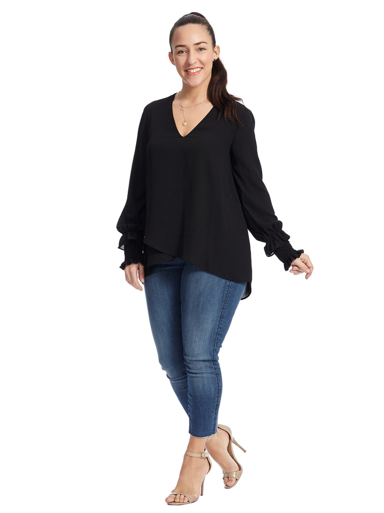 Smocked Sleeve Black Blouse