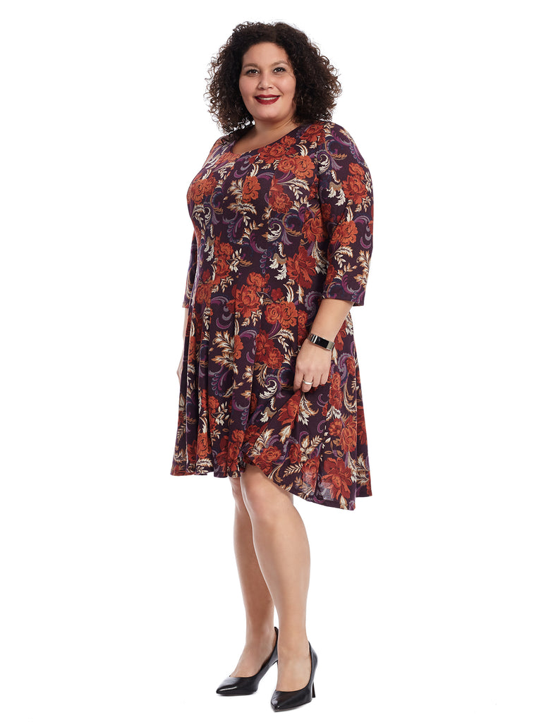Plum And Wine Tapestry Floral Dress