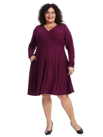 Purple Stripe Fit And Flare Dress