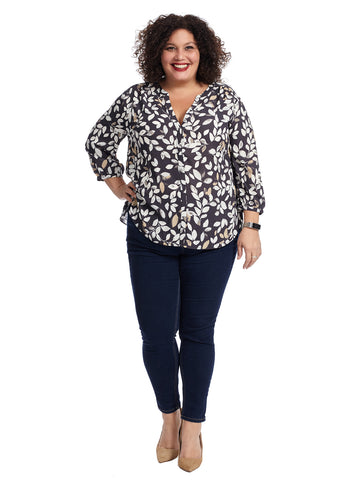 Pintuck Floral Print Blouse