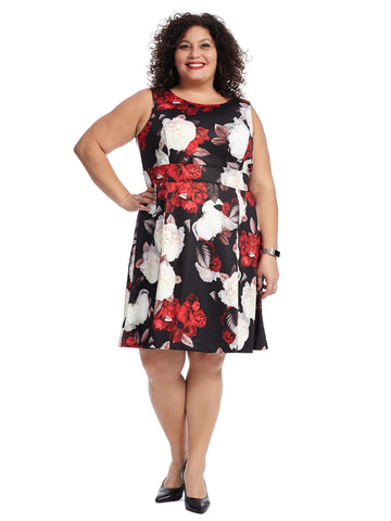 Black And Crimson Floral Fit And Flare Dress