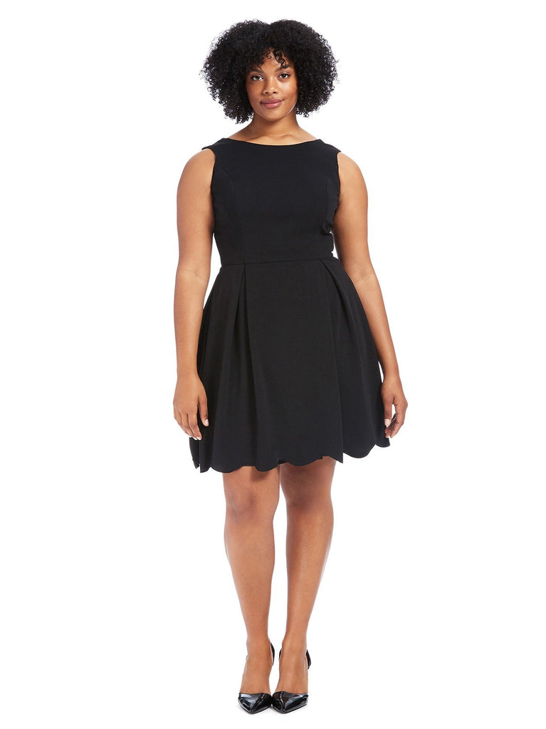 Scallop Hem Black Fit And Flare Dress