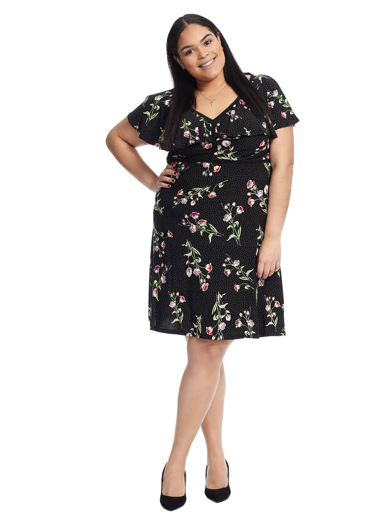 Malenna Floral Polka Dot Dress