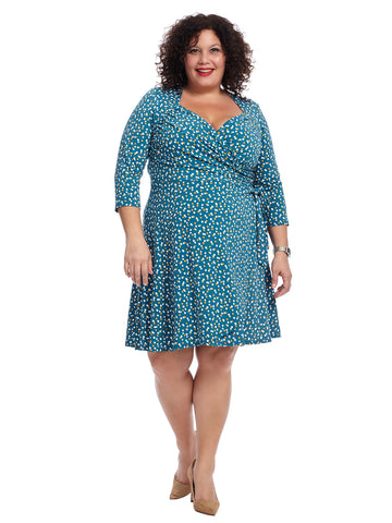 Twilight Dot Sweetheart Faux Wrap Dress