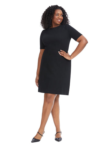 Short Sleeve Black Fit And Flare Dress