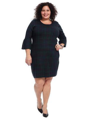 Bell Sleeve Hunter Green Plaid Dress