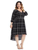 Front Button Detail Plaid Dress