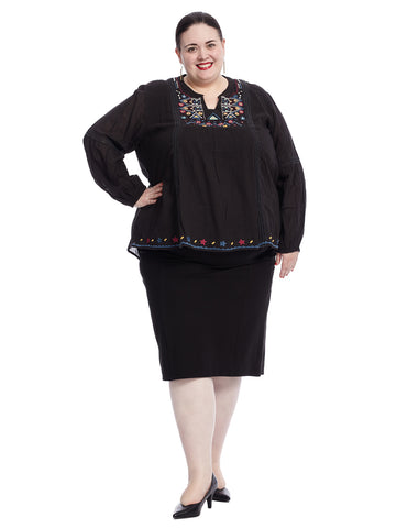 Embroidered Notch Collar Black Blouse