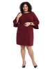 Bell Sleeve Scuba Wine Shift Dress
