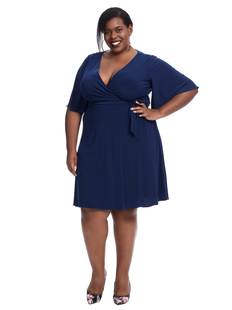Matte Navy Jersey Faux Wrap Dress