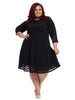 Tiered Lace Border Hem Black Seamed Fit And Flare Dress