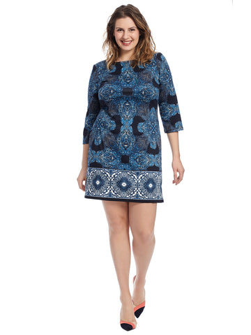 Three-Quarter Sleeve Ponte Shift Dress