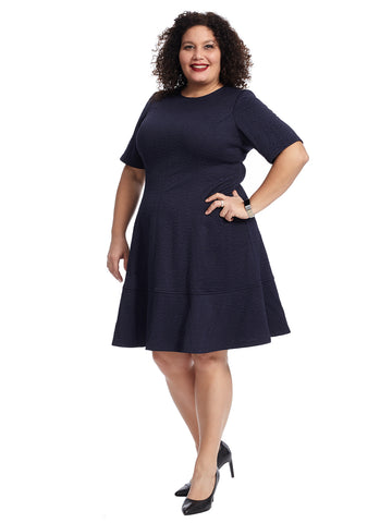 Navy Floral Jacquard Elbow Sleeve Dress