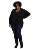 Long Sleeve Rib Trim Black Cardigan