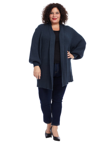 Balloon Sleeve Blue Spruce Cardigan