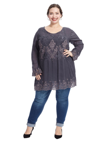 Embroidered V-Neck Robin Tunic