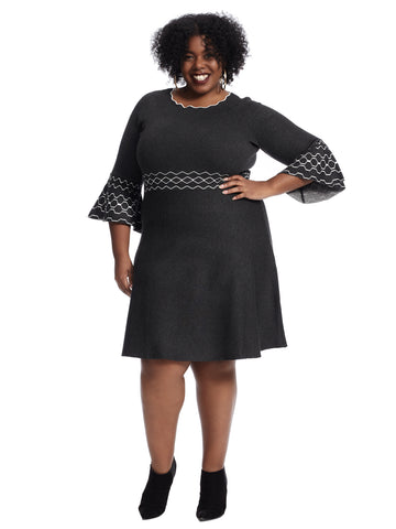 Bell Sleeve Charcoal Sweater Dress