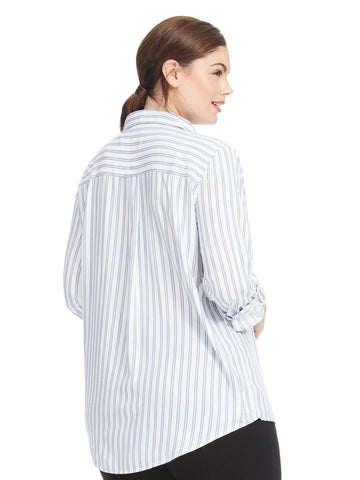Blue And White Striped Popover Collared Shirt