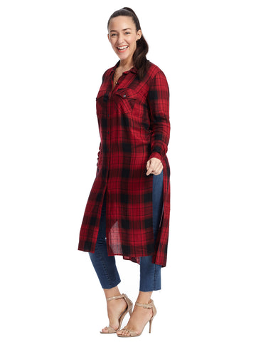 Red And Black Plaid Duster Top
