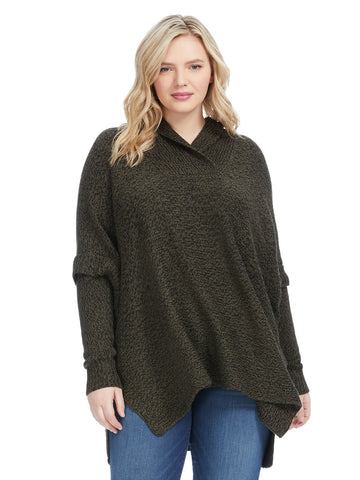 Shawl Collar Olive Twist Poncho
