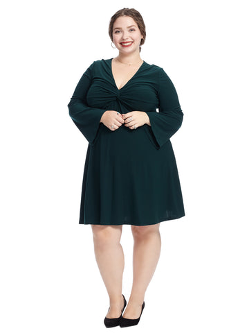 Twist Front Hunter Green Dress