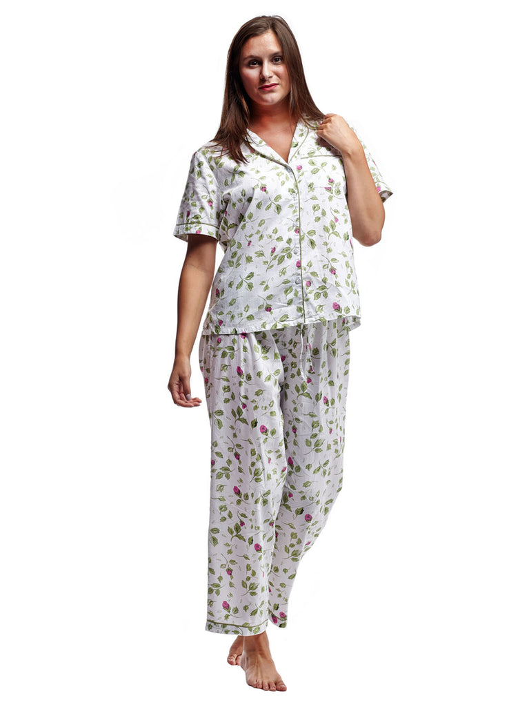 Mint Rosebud Print Cotton PJ