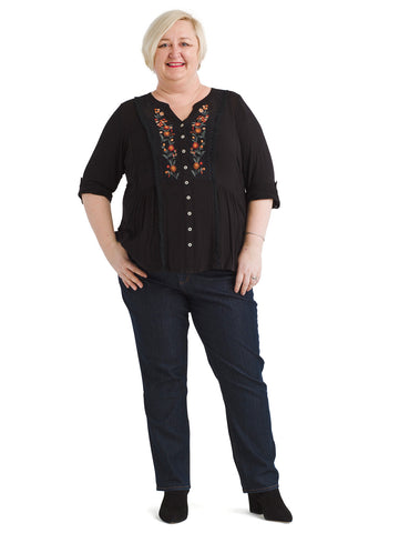 Embroidered Button Front Anthracite Patrice Top