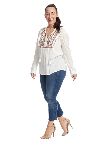 Embroidered White Alyssum Juliana Top