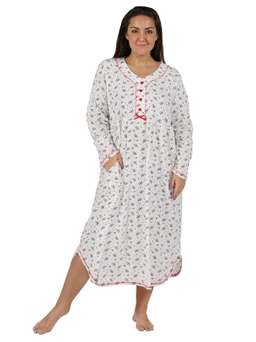 Holly Print Cotton Knit Henley Gown