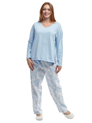 Floral Flannel Pant With Knit PJ Top