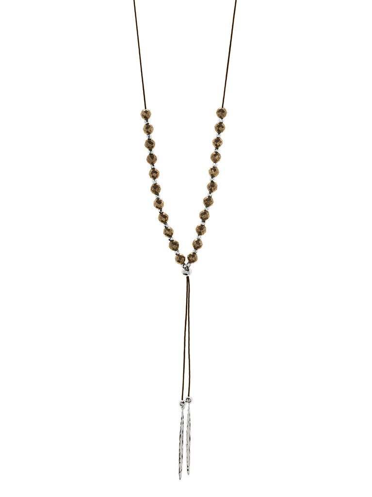 Power Gemstone Beaded Pyrite Necklace In Silver