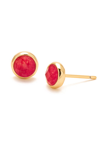 Power Gemstone Pink Jade Studs