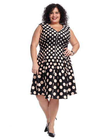Polka Dot Scuba Fit And Flare Dress