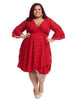 Diamond Jacquard Red Faux Wrap Dress