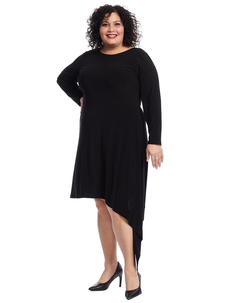 Asymmetrical Hem Matte Jersey Dress
