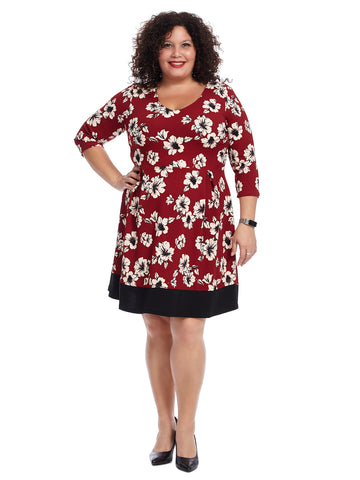 Burgundy Floral Fit And Flare Dress