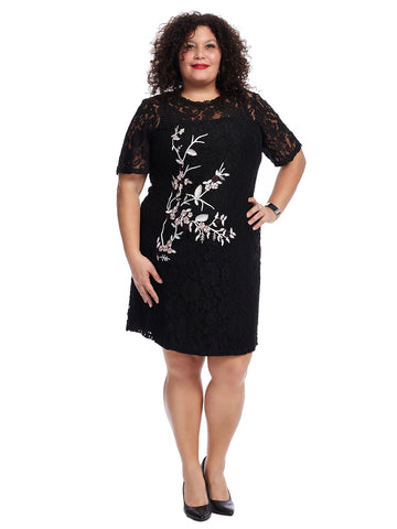 Mockneck Embroidered Lace Dress