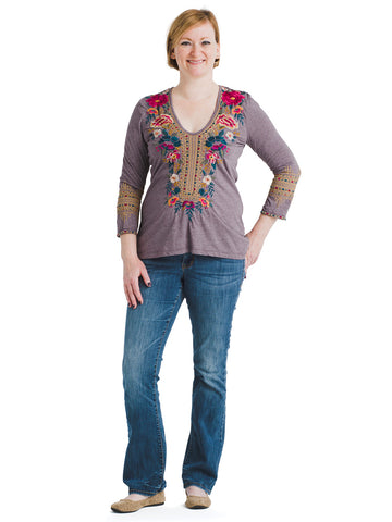 Embroidered V-Neck Katina Purple Stone Top