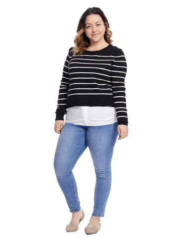 Twofer Side Tie Striped Pullover Sweater