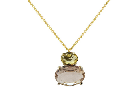 Rose Yellow Citrine Purse Necklace